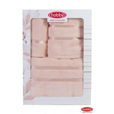 """Махровое полотенце в коробке 30x50+50x90+70x140  """"DOLCE"""" Персиковый"""