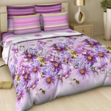 """Постельное белье поплин """"Акварельный букет (фиолетовый)"""" (1,5-спальный)"""